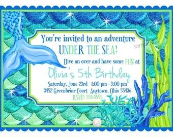 Mermaid Invitations, Mermaid birthday party, Under the Sea invitations, Ocean birthday,  Blue Green Mermaid, Children, Kids, Personalized