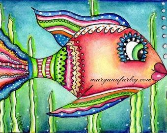 Nautical Colorful Cute Fish Art Print, Beach Art Illustration, 8 x 10 or 5 x 7,  Turquoise Blue, Green, Pink, Yellow, Ocean Sea Art