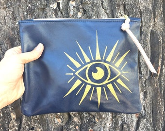 Sale Leather pouch with Watching Eye
