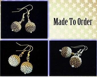 MADE TO ORDER - Two-Tone Metallic Seed Bead Earrings, Dangle Earrings, Drop Earrings, Beaded Bead Earrings, Peyote Earrings