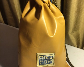 spicy mustard large leather drawstring pouch