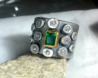 Emerald ring, Multistone ring,Diamond Statement Ring, Diamond, Emerald and silver, 22 kt yellow gold ring, Rustic diamond ring
