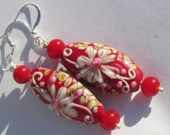 Vibrant red floral glass lampwork hand made pierced dangle wire wrapped earrings affordable unique