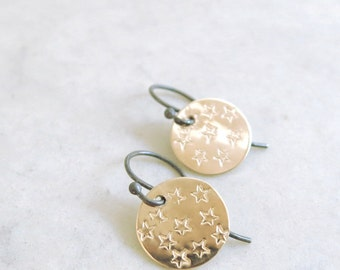 Stars earrings, gold, hand stamped, sterling silver