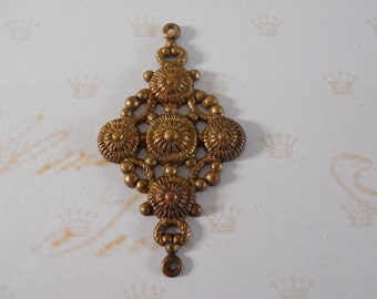 Vintage Oxidized Brass  Pendant Stamping