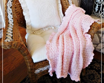 Pretty Spring Pink Lace Signature Crocheted Throw, Handmade, Lap Throw, Baby Blanket, Sofa or Chair Accent, Gift, ECS