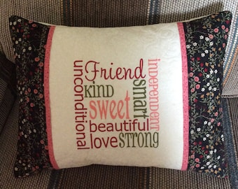 "CUSTOM FRIEND 16""x12"" embroidered, personalized quilted pillow COVER; friend gift, quilted pillow sham, custom embroidered gift"