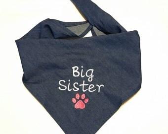 Big Sister Dog Bandana, Tie-on,  Denim, Newborn Photo, New Baby Announcement, Pet Clothing, Pet Accessories, Pet Neckwear, Dog Accessories
