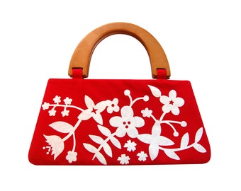 Modern floral handbag, Red handbag, Screenprinted handbag, Red and white purse, Handbag with handle, Womens handbag, Top handle bag, Red bag