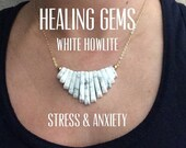 CIJ SALE CLEARENCE Healing Gems: White Howlite for Stress & Anxiety. 16 or 18 inches with Gold or Silver chain. Cascade Statement Necklace.