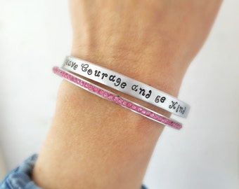 Have Courage and be Kind inspirational cuff bracelet - Free gift crystal pink bangle Inspirational from Cinderella