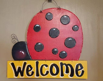 Painted Ladybug Welcome Door Hanger