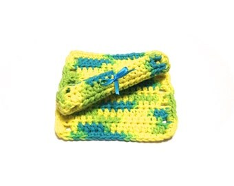 Summer Splash Crocheted Square Baby Wash Cloths-Pair