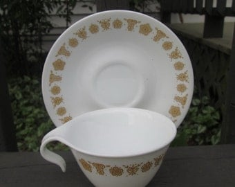 Three Vintage Cups and Saucers - Corelle Corning Butterfly Gold
