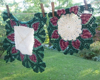 Two Vintage Hand Crocheted Doilies - White Green Purple Grapes
