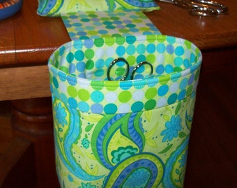 Thread Catcher // Scrap Caddy // Pin Cushion With Rubberized Gripper Strip // Fleurish // Bright Green And Teal