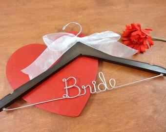 Name Bridal Hanger - Bridal Dress Hanger - Brown Wood Hangers - Wedding Dress Hanger - Mrs Hanger - Last Name Hanger - Bride Hanger