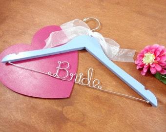 Bridal Wire Hanger - Something Blue - Blue Hanger - Bridal Gown Hanger - Bridal Dress - Photo Prop - Bride in Wire - Shower Gift - Bride