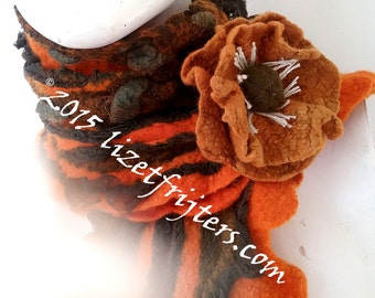 Orange and Grey Textured Nuno Felted Scarf with Flower Winter Scarf Eco Fashion