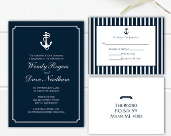 NAUTICAL Wedding INVITATION Anchor invitations Coast wedding