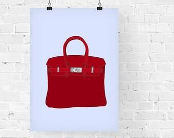 Hermes Birkin Red Fashion Illustration Art Print