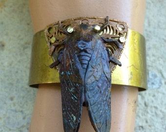 Steampunk  Jewelry - Black Cicada Cuff Bracelet