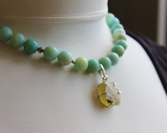 Roman Glass Pendant, Chunky Amazonite Necklace, Gemstone Necklace, Green Amazonite, seafoam