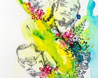 Budgie Watercolour. Bird Watercolour Painting with Embroidery. Framed. Bird Art. Sreet Art. Graffiti. Rappers