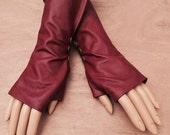 Dark Red  Leather Gloves