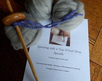 Learn to Spin Kit Drop Spindle and 2 Ounces Alpaca Rovings with all Instructions DIY