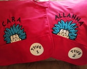 Dr. Seuss Inspired Cat in Hat theme. Choose from Cat, Thing 1 and Thing 2. Hooded Towel or Shirt options also!