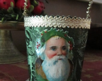 Vintage Handmade Embossed Green Foil Basket Decoration with Antique German Santa Head Paper Scraps, Gold Dresdens and Antique Tinsel Handle