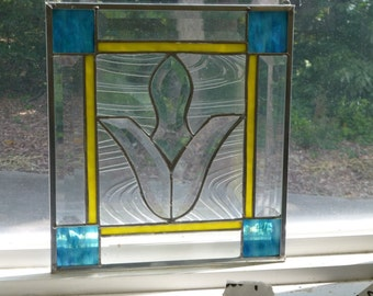 Beautiful Blue/Yellow Stained Glass & Beveled Panel-Free Shipping!