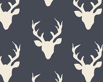 Buck Forest Twilight - Hello Bear - Art Gallery Fabrics - Bonnie Christine - HBR-4434-3 Deer Silhouette Silo Antlers Navy