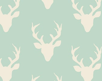 Buck Forest Mint from the Hello Bear collection by Bonnie Christine for Art Gallery Fabrics