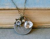 Vintage coin charm necklace. layering,boho,bohemian jewelry. Tiedupmemories