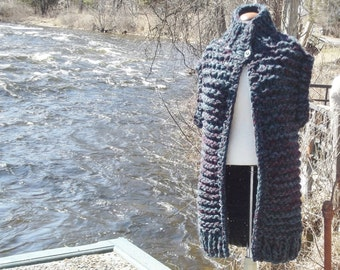 Long chunky knit vest men small women medium large hand knit dark teal and plum tweed mix