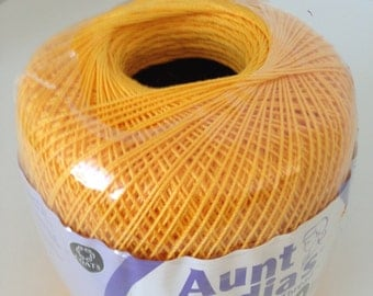 Crochet cotton thread, Aunt Lydia Classic 10 in yellow goldenrod , cotton thread