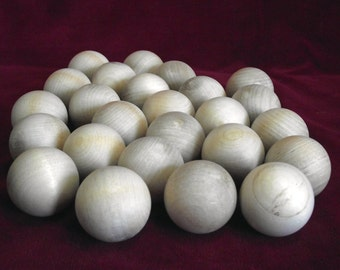 25  Balls, 1-1/2 inch diameter Unfinished Hardwood