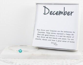 December Birthstone Swarovski Turquoise Blue Sterling Silver Bangle Bracelet, Sterling Silver Bracelet, Turquoise Bangle Bracelet #763