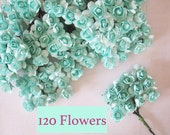 Mint Aqua Paper Flowers - 120 pcs - Small Bouquet - weddings - favors - invitations - paper goods