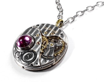 Steampunk Necklace RARE 1916 ELGIN Silver PINSTRiPED 2 Tone Pocket Watch PINK Crystal Valentine's Day Gift - Steampunk Jewelry by edmdesigns