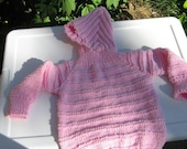RESERVED FOR PMACLELLAN- Baby Hooded Pink Cotton Zipperback Sweater for Child
