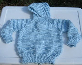 Handknit Blue Baby Hooded Zipperback Sweater for Infant/Child
