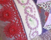 Vintage Lavender Pillow, 12x16, with Patchwork, Vintage Embroidery, Vintage Crochet