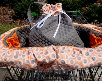 Dog Cart Cover - Shopping Cart Cover for Dogs - READY TO SHIP -  w/tote