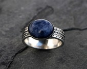 Blue Planet Sodalite Sterling Silver Ring, Denim Blue Oval Cabochon, Scallop Dot Design, Wide Pattern Design Ring Band, Navy Blue Statement