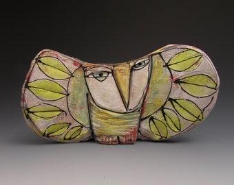 Clay Owl sculpture / Owl Figurine, whimsical owl art, colorful ceramic owl art