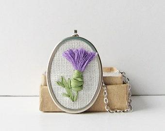 Thistle necklace, Scottish emblem jewelry, Celtic symbol necklace, embroidered purple thistle