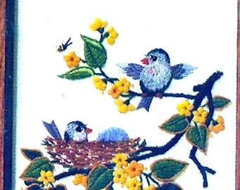 Birds Bees 80s vintage embroidery floral birds scene needlework DIY Kit Creative Circle 540 Bob Shafor